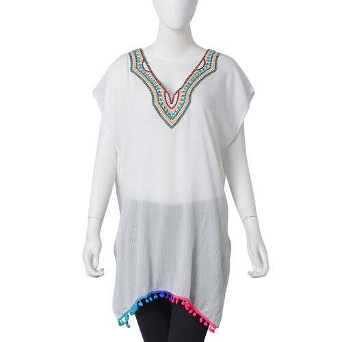 White, Green and Red Colour V Neckline With Bohemian Style Ornate Embroidered Summer Poncho with Green Colour Plastic Beads and Multi Colour Pom Pom (Size 80x55 Cm)