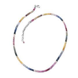 Limited Edition- Rainbow Sapphire (Rnd) Beads Necklace (Size 18 with 2 inch Extender) in Platinum Overlay Sterling Silver 67.500 Ct.