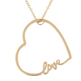 Vicenza Collection 9K Yellow Gold Love Heart Pendant with Chain (Size 18)