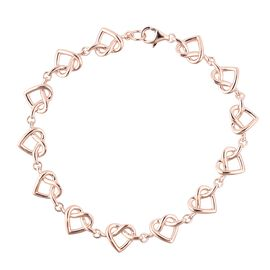 LucyQ Rose Gold Overlay Sterling Silver Entwined Heart Bracelet (Size 7.5), Silver wt 8.39 Gms