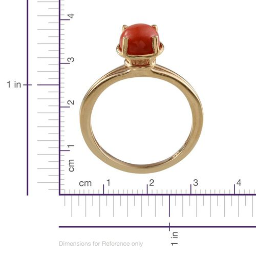 Natural Mediterranean Coral (Rnd) Ring in 14K Gold Overlay Sterling Silver 1.750 Ct.