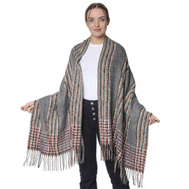 Designer Inspired Check Print Scarf with Tassels (Size 185x69cm) - Grey