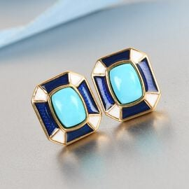 Arizona Sleeping Beauty Turquoise Enamelled Stud Earrings (with Push Back) in 14K Gold Overlay Sterling Silver 1.910 Ct.