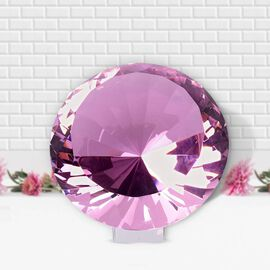 TJC Exclusive Diamond Cut pink Glass Crystal with Stand (20cms) in a Gift Box-pink