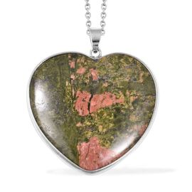 Unakite (Hrt 40 mm) Heart Pendant With Chain (Size 24) in Stainless Steel 105.00 Ct.