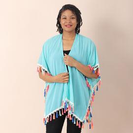 JOVIE Chiffon Kimono with Floral Printed Border (Size 75X82 Cm)- Blue