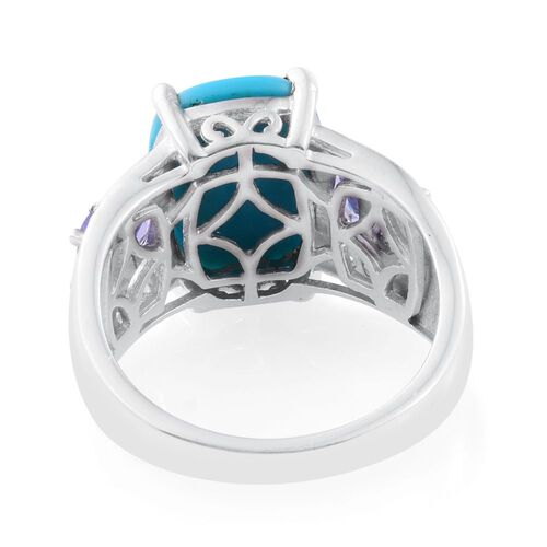Arizona Sleeping Beauty Turquoise (Cush 4.45 Ct), Tanzanite and Natural Cambodian Zircon Ring in Platinum Overlay Sterling Silver 5.500 Ct.