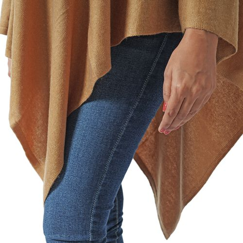 Limited Available - 100% Himalayan Pashmina Wool Poncho - Khaki Colour (Free Size/70x70Cm)