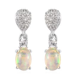 Ethiopian Welo Opal, Natural Combodian Zirocn Drop Earrings in Platinum Overlay Sterling Silver 1.00