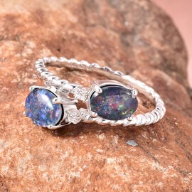 GP  Boulder Opal, Natural Cambodian Zircon and Blue Sapphire Bypass Ring in Rhodium Overlay Sterling Silver 2.12 Ct.