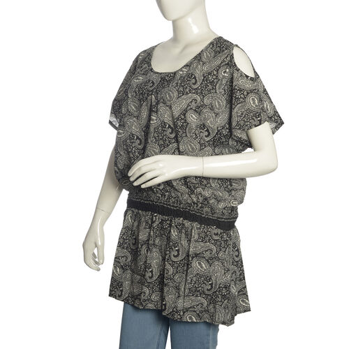 Black, Grey and White Colour Paisley Pattern Cutout Shoulder Top (Free Size)