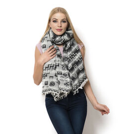 WINTER SPECIAL Mohair, Acro and Cotton Black and White Colour Geometric Pattern Scarf (Size 195x75 C
