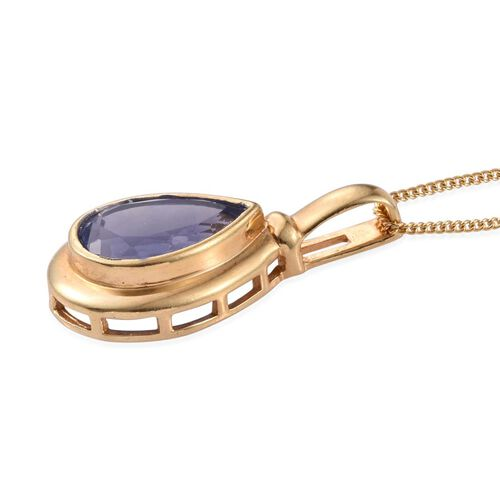 Colour Change Fluorite (Pear) Solitaire Pendant With Chain in 14K Gold Overlay Sterling Silver 3.500 Ct.