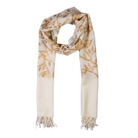 100% Merino Wool Flower and Leaves Embroidered Scarf (Size 195x70 Cm) - Cream