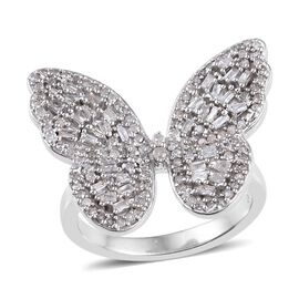 GP Diamond (Rnd), Blue Sapphire Butterfly Ring in Platinum Overlay Sterling Silver 0.770 Ct.