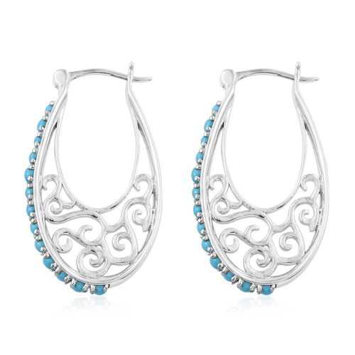 AA Arizona Sleeping Beauty Turquoise (Rnd) Filigree Hoop Earrings (with Clasp) in Platinum Overlay Sterling Silver 1.900 Ct.