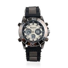 Barkers Of Kensington - Turbo Sports Watch with Silicone Strap - Black and Silver