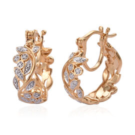 Diamond (Rnd) Leaves Hoop Earrings (with Clasp) in 14K Gold Overlay Sterling Silver