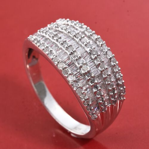 Diamond (Bgt) Ring in Platinum Overlay Sterling Silver 1.000 Ct. Number of Diamonds 147