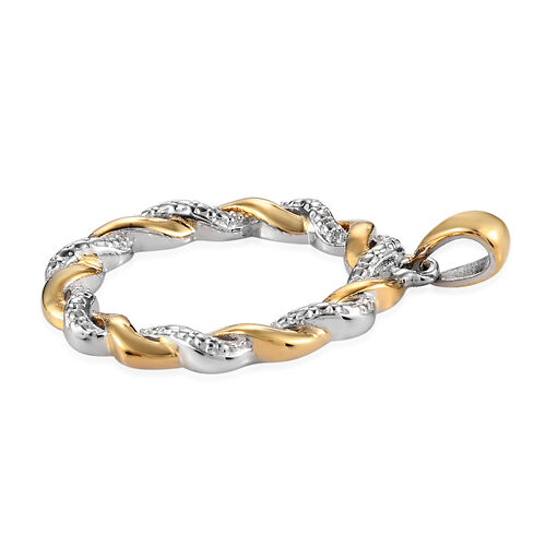 Simulated Diamond Twisted Circle Pendant in Platinum and Yellow Gold Overlay Sterling Silver