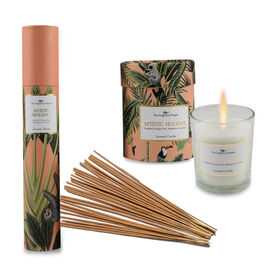 Home Decor - Set of 2 - Scented Glass Candles and Incense Stick Box with 30 Sticks (Mystic Holiday-