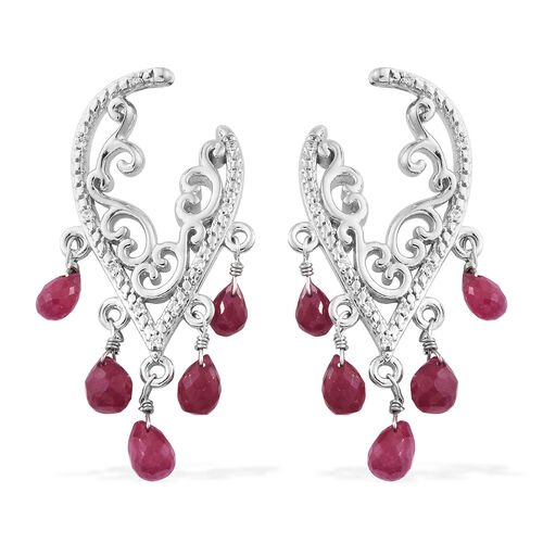 African Ruby , Natural White Cambodian Zircon Filigree Earrings (with Push Back) in Platinum Overlay