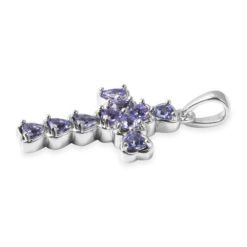 Tanzanite Cross Pendant in Rhodium Overlay Sterling Silver 1.00 Ct.