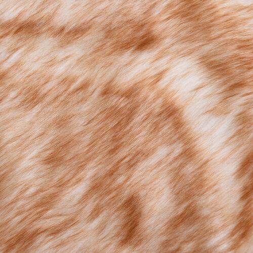 3 Piece Set - Long Pile Faux Fur Rug (100x180cm) with 2 Sofa Cushion Covers (45x45cm-2Pcs) - Beige