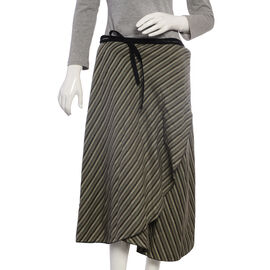 Grey and Black Wrap Skirt Free Size
