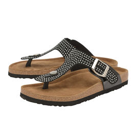 Dunlop Carmen Toe Post Flat Sandals in Black Colour