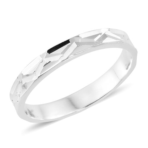 Designer Inspired- Sterling Silver Diamond Cut Textured Band Ring