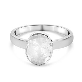 Artisan Crafted Polki Diamond Solitaire Ring in Platinum Overlay Sterling Silver 0.50 Ct.