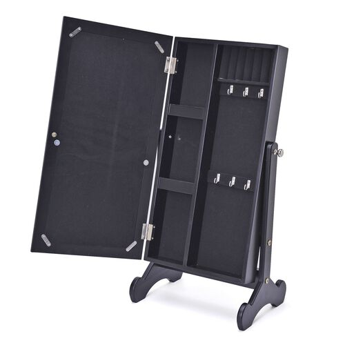 Black Colour MDF Standing Jewellery Cabinet with Mirror (Size 60.5x30x20 Cm)