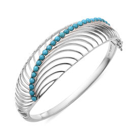 Isabella Liu Sea Rhyme Collection - Arizona Sleeping Beauty Turquoise Bangle (Size 7.5) in Rhodium O