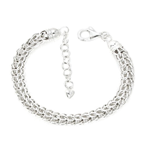 Rhodium Plated Sterling Silver Byzantine Bracelet (Size 8 with 1 inch Extender), Silver wt. 15.40 Gms.
