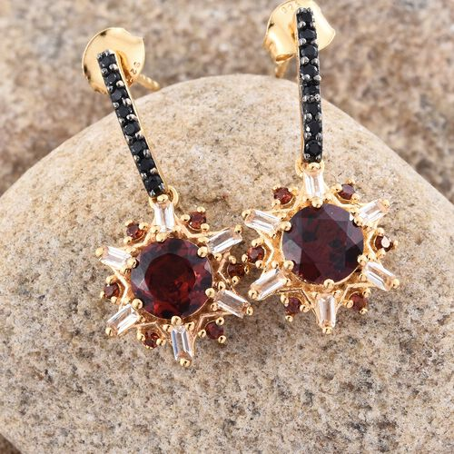 GP Mozambique Garnet (Rnd), Kanchanaburi Blue Sapphire, Boi Ploi Black Spinel and White Topaz Earrings (with Push Back) in 14K Gold Overlay Sterling Silver 4.000 Ct.