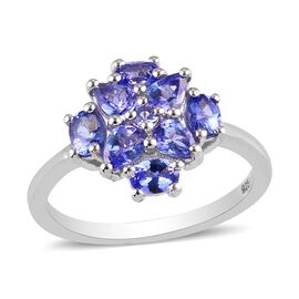 Tanzanite Cluster Ring in Platinum Overlay Sterling Silver 1.12 Ct.
