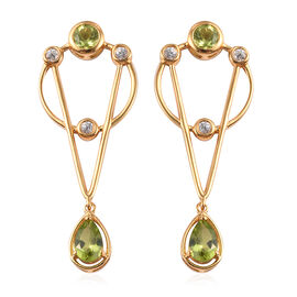 Hebei Peridot, Natural Cambodian Zircon Dangle Earrings (with Push Back) in 14K Gold Overlay Sterlin