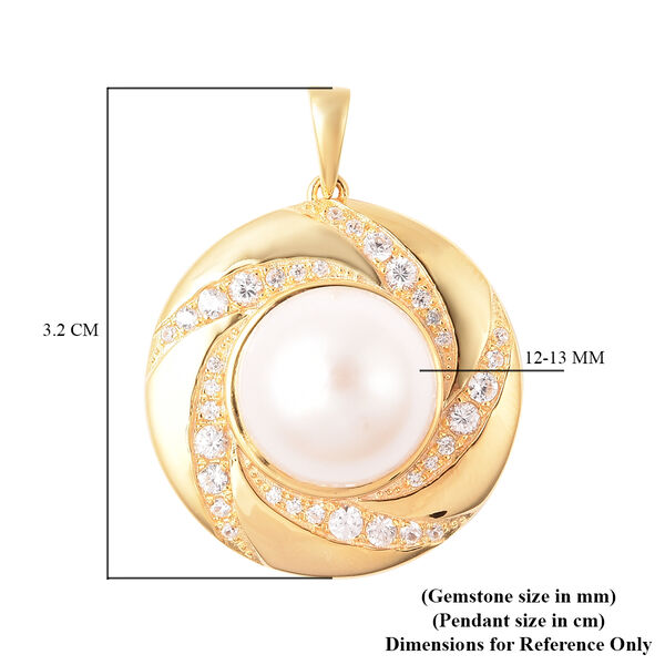 Edison Pearl and Natural Cambodian Zircon Pendant in Yellow Gold Overlay Sterling Silver, Silver wt 5.10 Gms
