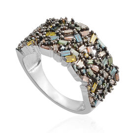 1 Carat Rainbow Diamond Cluster Ring in Black and Platinum Plated Silver