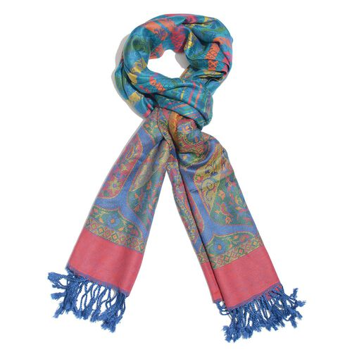 Autumn Winter Special Supersoft Modal Blue, Red and Multi Colour Paisley Pattern Reversible Jacquard
