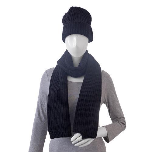 Black Colour Cap (Size 30x20 Cm) and Muffler (Size 150x25 Cm)