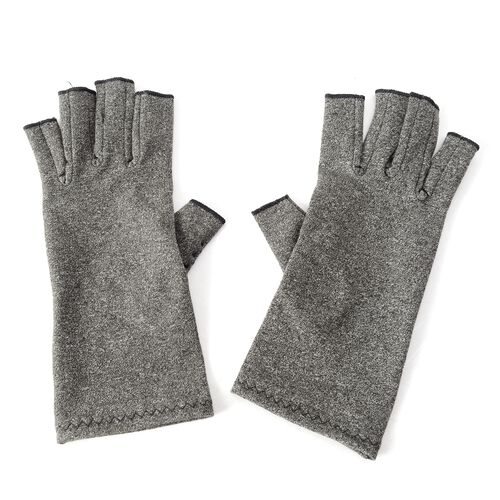 Compression Gloves with PVC Grip and Open Finger  (Size M 20x7.5 Cm)