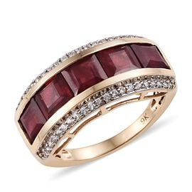 9K Yellow Gold AA African Ruby (Sqr), Natural Cambodian Zircon Ring  5.50 Ct.