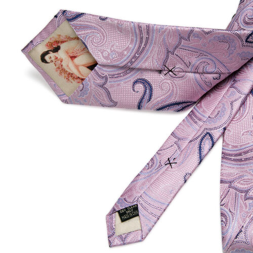 William Hunt- Silk Paisley Print Tie - Pink