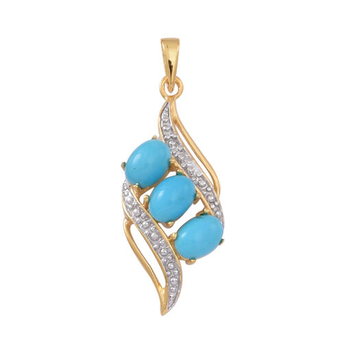 Arizona Sleeping Beauty Turquoise (Ovl) Trilogy Pendant in 14K Gold Overlay Sterling Silver 2.750 Ct.