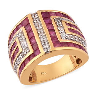 African Ruby (FF) and Natural Cambodian Zircon Ring in 14K Gold Overlay Sterling Silver 5.75 Ct.