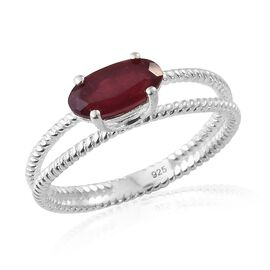 African Ruby (Ovl) Solitaire Ring in Sterling Silver 2.000 Ct.