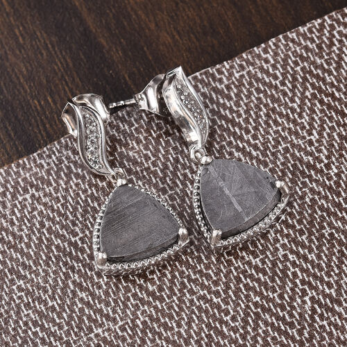 Tucson Special - Meteorite (Trl), Natural Cambodian Zircon Drop Earrings (with Push Back) in Platinum Overlay Sterling Silver 14.19 Ct.