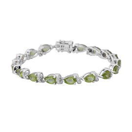 One Time Deal-Hebei Peridot (Pear) Sterling Silver Bracelet (Size 8 )  16.250 Ct, Silver wt 14.30 Gm